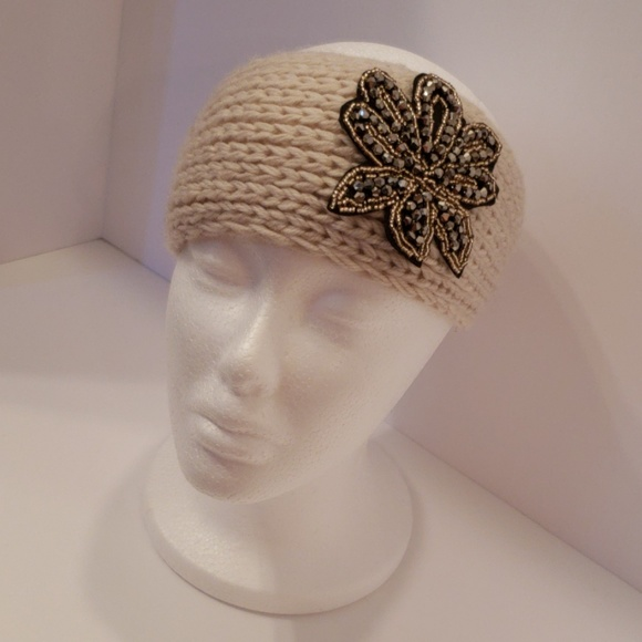 Accessories - Knitted Sweater Bling Headband- Cream